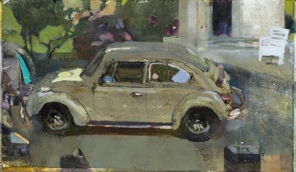 Аникин Василий. «Юг». 2019. Холст, масло, линер. 23×35см.