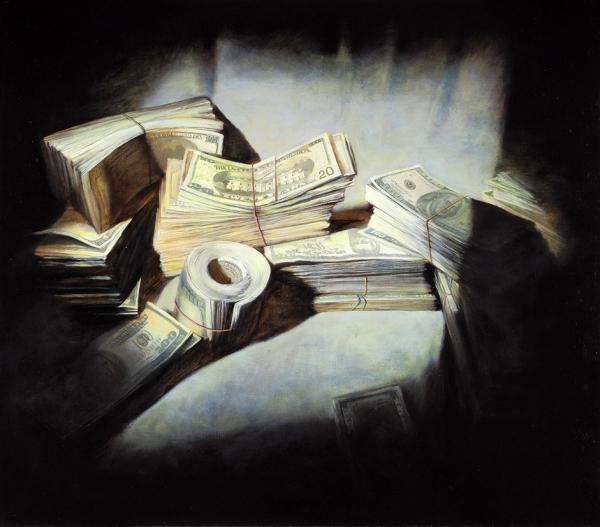 """Бломериус Ингеборга. «Проект """"Деньги""""». 2018. Холст, масло. 70×80см."""