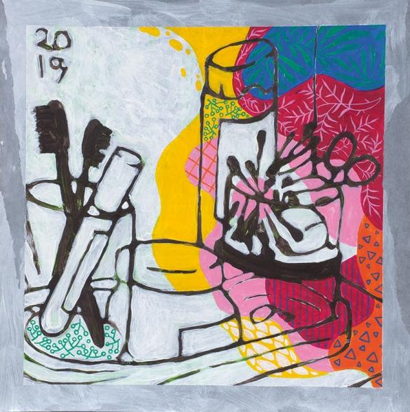Бузова Катя. «Баночки крема». 2019. Бумага, акрил. 28×28см.