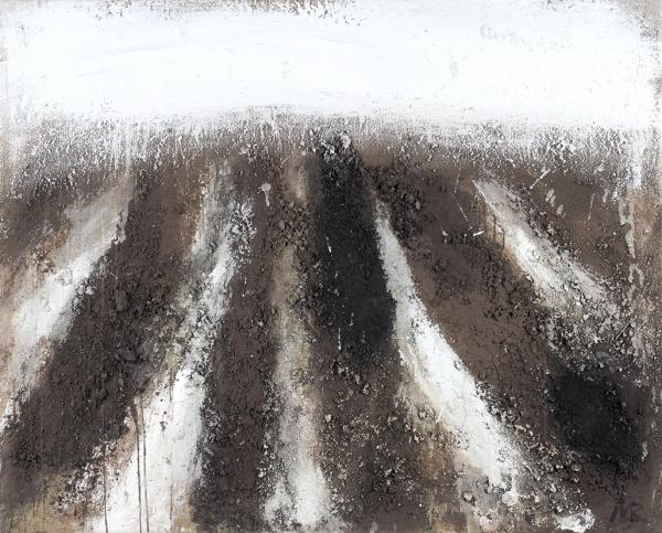 Рошняк Михаил. Новая пашня. Рассвет.2019. Холст, авторская техника (земля). 84×104см.