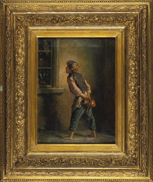 Грибков Сергей Иванович (1822–1893) «Мальчик умагазина игрушек». 1880. Холст, масло, 40,1×29,1см.