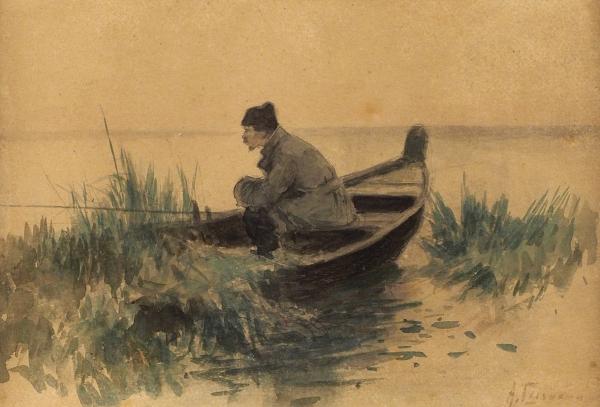 Степанов Алексей Степанович (1858–1923) «Рыбалка». 1880-1900-е. Бумага, графитный карандаш, акварель, 14,5×21,5см.