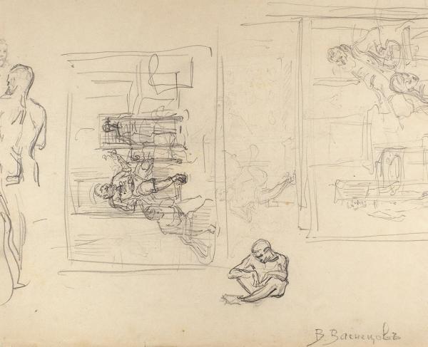 Васнецов Виктор Михайлович (1848–1926) «Воин». Набросок. 1880-е. Бумага, карандаш, 28,2×33,9см.
