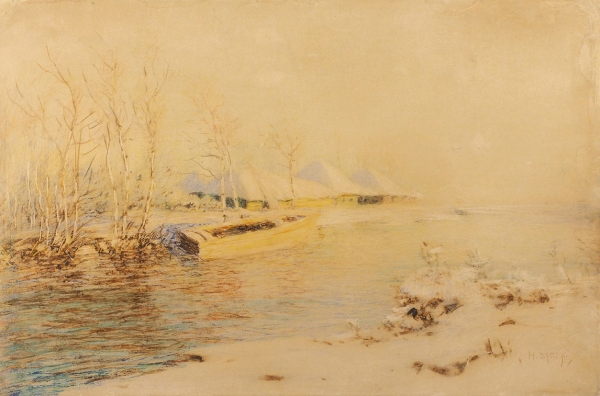 Дубовской Николай Никанорович (1859–1918) «Зимой уреки». Конец XIXвека. Бумага, пастель, процарапывание, 31×47см.