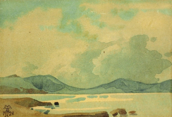 Волошин Максимилиан Александрович (1878–1932) «Крымский пейзаж». 1928. Бумага, акварель, 8,5×12,3см (всвету).
