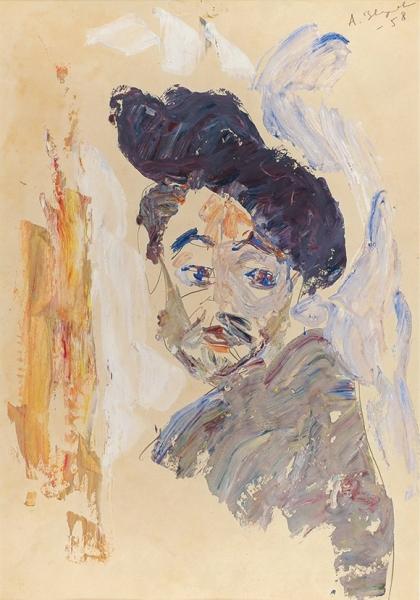 Зверев Анатолий Тимофеевич (1931–1986) «Автопортрет вберете». 1958. Бумага, графитный карандаш, темпера, масло, 59,6×41,2см.