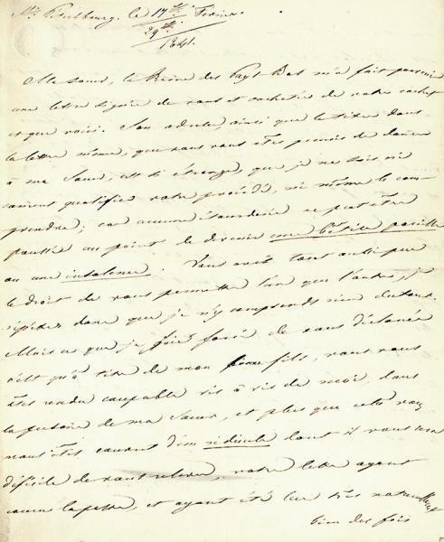 """[""""...Никакие мыслимые основания немогли подтолкнуть Вас кподобной глупости или наглости...] Собственноручное письмо императора НиколаяI, адресованное Максимилиану, герцогу Лейхтенбергскому. 29января 1841года."""