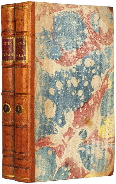 [Редчайшее контрафактное эротическое издание c80фривольными гравюрами Шарля Эйзена] Лафонтен, Ж.Сказки ирассказы встихах. В2т. Т. 1-2. [Нафр.яз.] Б.м., 1777.