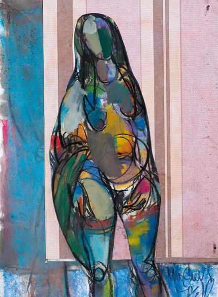 Богдаридис Михаил. «Обнаженная». 2000. Бумага, смешанная техника. 55×41см.