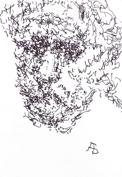Бух Арон Фроимович (1923–2006) «Автопортрет». 2004. Бумага, черный фломастер.29,5x21см.