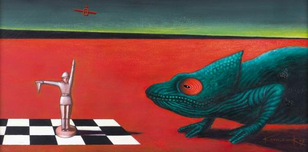 Ковальчук Владимир. «ПосвящениеДж. деКирико». 2009. Холст, акрил. 50x100см.