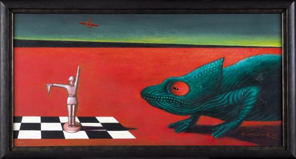 Ковальчук Владимир. «ПосвящениеДж. деКирико». 2009. Холст, акрил. 50×100см.