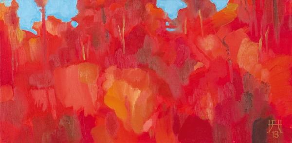 Нам Александр. «Красный лес». 2013. Холст накартоне, масло. 40×80см.