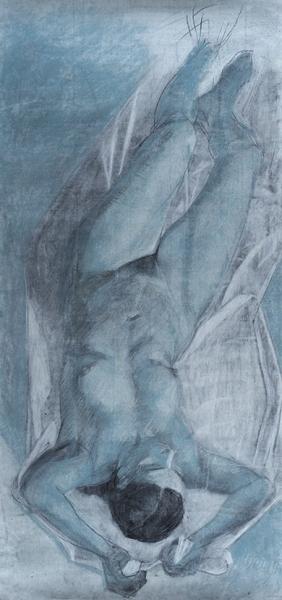 Яхнина Каролина. «Летящая». 2014. Бумага, соус, уголь. 150×70см.