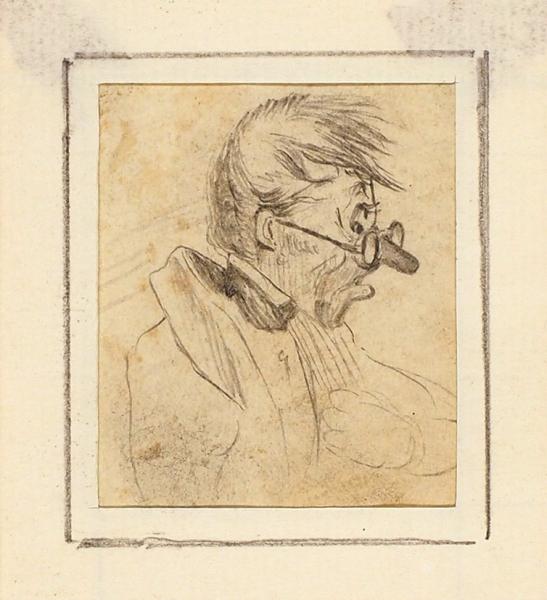 Орловский Александр Осипович (1777–1832) Шарж. Первая четверть XIXвека. Бумага, графитный карандаш, 7,5×6,5см (всвету).