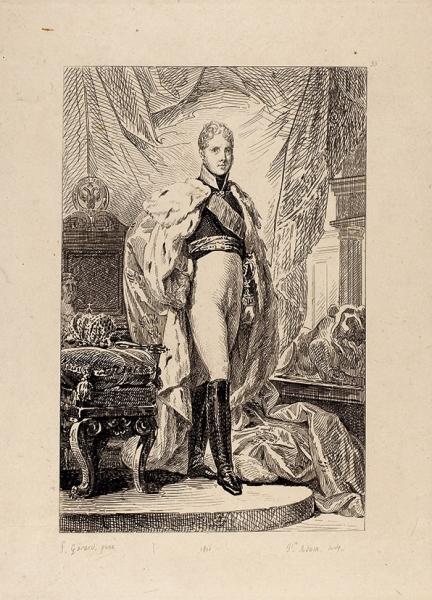 Адам Жан Виктор (Jean-Victor Vincent Adam) (1801–1867) пооригиналу Жерара Франсуа Паскаля Симона (François Pascal Simon, Baron Gérard) (1770–1837) «Портрет Александра I». 1826. Бумага набумаге, резец, 36,2×28,6см (лист).