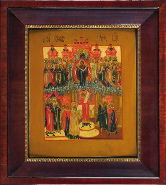 Икона «Покров Пресвятой Богородицы». Россия. Первая треть XIXвека. Дерево, левкас, темпера, золочение, 31,3×26,8×2,2см.