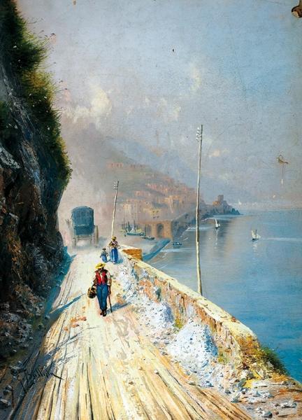 Баттиста Джованни (Giovanni Battista) (1858–1925) «Неаполитанское побережье». Рубеж XIX-XXвеков. Бумага набумаге, гуашь, 49×35,3см.