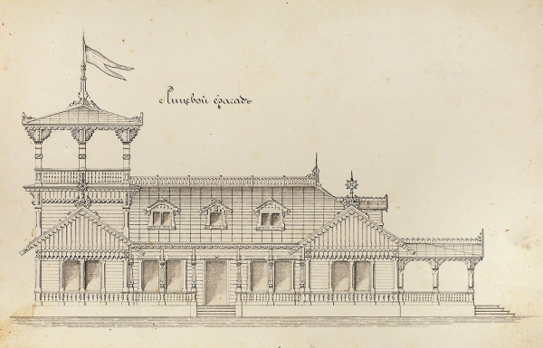 Неизвестный художник. Архитектурный проект дома впсевдорусском стиле. Конец XIX— началоХХ века. Бумага, тушь, перо, 20×31см.