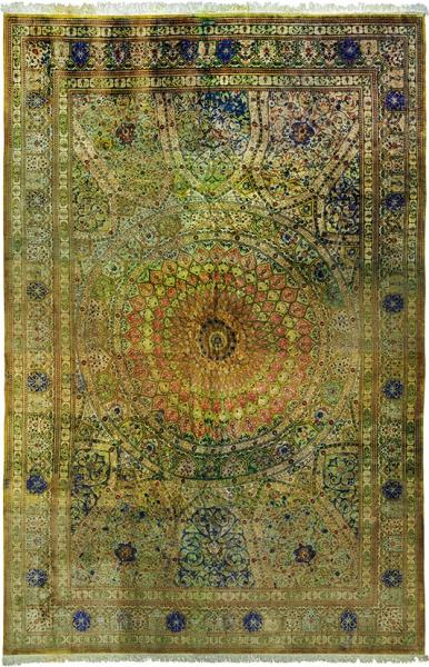 Ковер Тебриз «Гамбит». Персия. Начало ХХвека. Материал: ворс, уток иоснова шелк 100%. Технология: ручное ворсовое ткачество. Размер 596×390см.