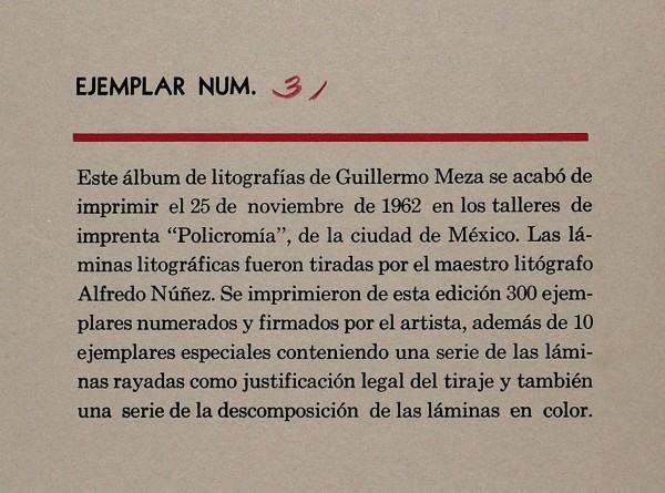 Меса, Г.Впечатления. 11литографий. [Meza, G.Impresiones. Наисп.яз.]. Мехико: Galeria Kamffer, 1962.