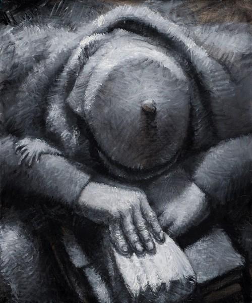 Арнаутов Олег. «Шляпа». Изсерии «Подземка». 2015. Холст, масло. 60x50см.