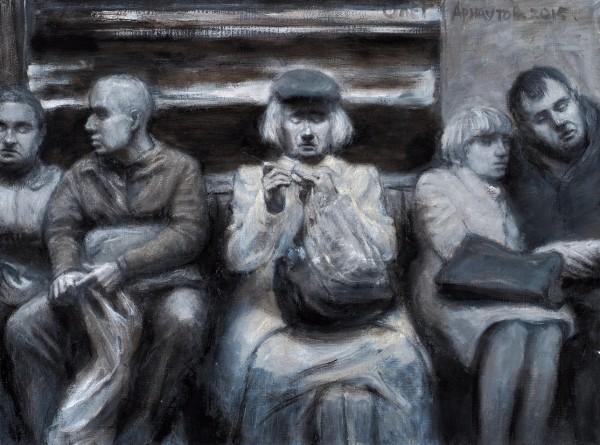Арнаутов Олег. Изсерии «Подземка». 2015. Холст, масло. 45x60см.