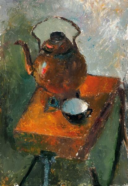 Беззубов Юрий Иванович (1937–2006). «Натюрморт счайником». 1970-е. Картон, масло. 59x40,5см.