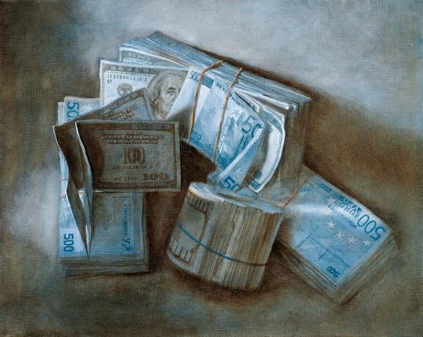 Бломериус Ингеборга. «Доллары иевро». Изпроекта «Деньги». 2019. Холст, масло. 40x50см.