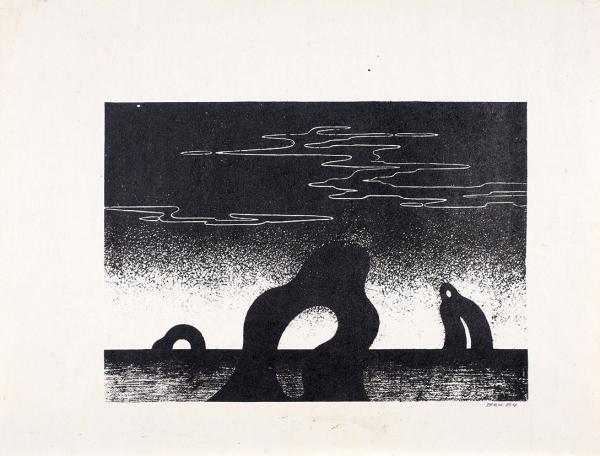 Вечтомов Николай Евгеньевич (1923–2007) «Мир бессмертных». 1964. Бумага, автолитография.18,5x26см.