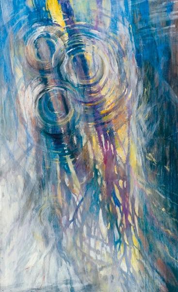 Пелецкая Екатерина. «Отражение». 2019. Фанера, масло, акрил, пастель. 117x72см.