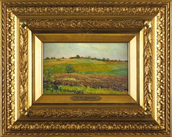 Левитан Исаак Ильич (1860–1900) «Летний пейзаж. Пашня». Конец 1880-х—1890-е. Бумага накартоне, масло, 17,9x29,6см.