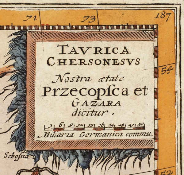 Карта Таврии, Перекопа иХазарии/ карт. Г.Меркатор, грав. Я.Янсон. [Taurica Chersonesus : Nostra aetate Przecopsca, etGazara dicitur]. Амстердам, 1636.