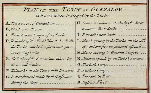 План города Очакова вовремя осады турками/ Т. Китчен. [Plan ofthe Town ofOckzakow asitwas when besieged bythe Turks]. Лондон, 1770.