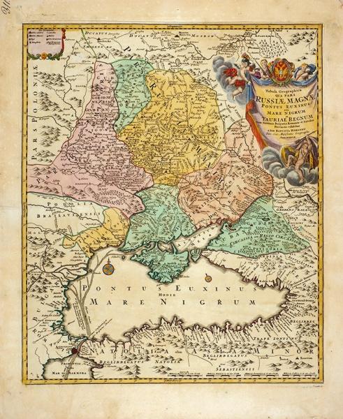 Карта Черного моря иКрыма/ карт. И.Б. Хоманн. [Tabula Geographica Qua Pars Russiae Magnae]. Нюрнберг, 1720.