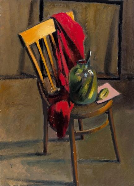 Беззубов Юрий Иванович (1937–2006). «Натюрморт состулом». 1970-е. Картон, масло.74,5×54,5см.