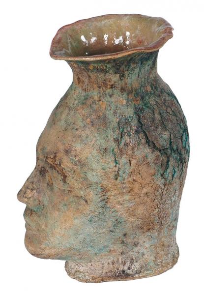 Колосов Андрей. Скульптура «Голова-Ваза». 2018. Керамика, шамот, ангобы, соли, глазурь. 35×14×24см.