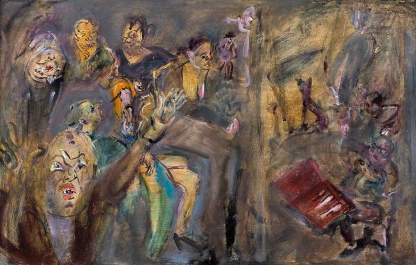 Конышева Натта. «Антикварный салон». 2005. Оргалит, смешанная техника, масло. 43×67см.