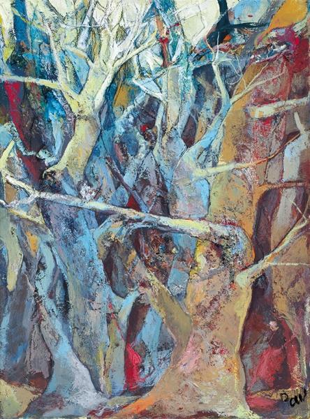 Разгуляев Павел. «Ветлы». 2016. Холст, темпера, 40×30см.
