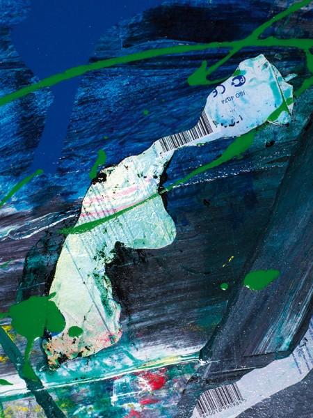 Яковлев Павел. «2.0А6». 2019. Фанера, акрил, аэрозоль, бытовая эмаль, коллаж. 86x80см.