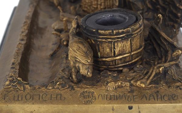 Письменный прибор изсеми предметов. Россия, Фабрика художественной бронзы Ф.Ю. Шопена, автор модели Е.А. Лансере. 1875-1880.