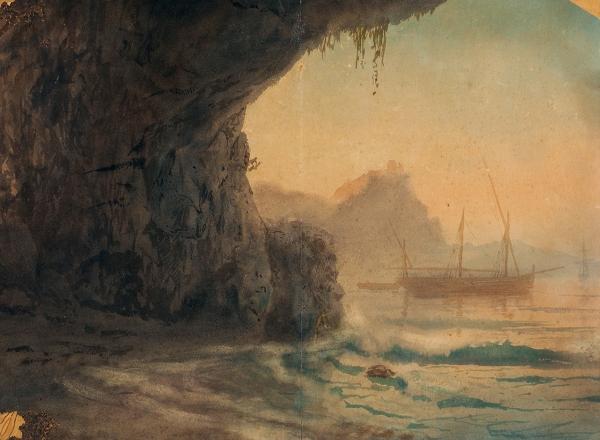 Лагорио Лев Феликсович (1827–1905) «Парусники угрота». 1870-е— 1880-е. Бумага накартоне, акварель, 32x43,2см.