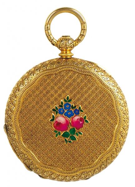Часы дамские карманные взолотом корпусе. Швейцария. Начало ХХвека. Золото 750пробы, эмаль. Диаметр3,5см.