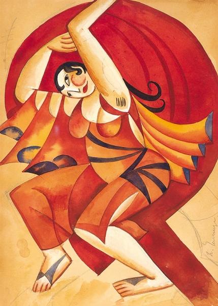 Челищев Павел Федорович (1898–1957) «Вакханка». Эскиз театрального костюма. 1920-1921. Бумага, графитный карандаш, акварель, белила, 33×24см.