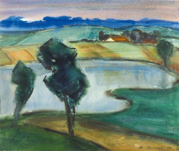 Звиедрис Александр Карлович (1905–1993) «Озеро». 1970. Бумага, смешанная техника, 49x58см (всвету).