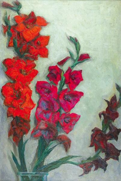 Коржева-Чувелёва Кира Владимировна (1923–2007) «Гладиолусы». 1982. Холст, масло, 90×59,5см.