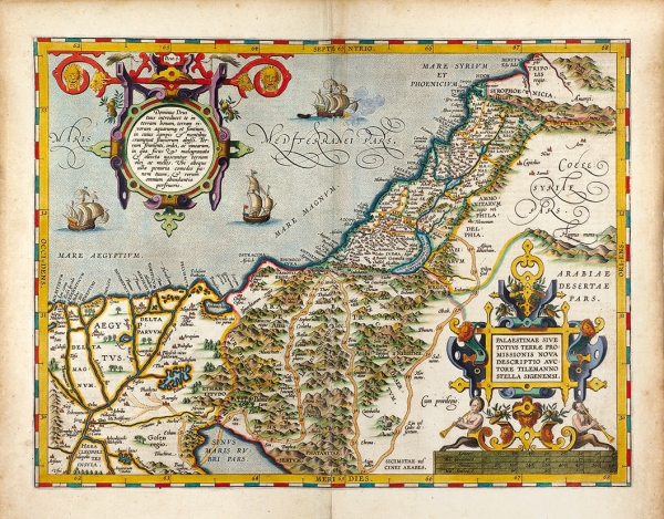 Карта Палестины иСвятой Земли (иудеи)/ карт. Меркатор— Хондиус. [Palaestinae Sive Totius Terrae Promissionis Nova Descriptio Auctore Tilemanno Stella Sigenens]. Антверпен, [1610-е гг.].