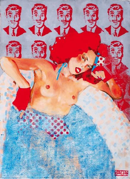 Красная Анна. «Мечты обусатых мужчинах». 2011. Бумага, акрил, масло. 67x97см.