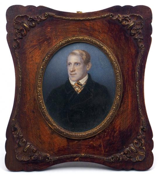 Вагенгейм (Wagenheim) Мартин Карлович (?—1866) «Портрет Андрея Жандра». Вторая четверть XIXвека. Бумага, гуашь, 9x7см (овал, всвету).