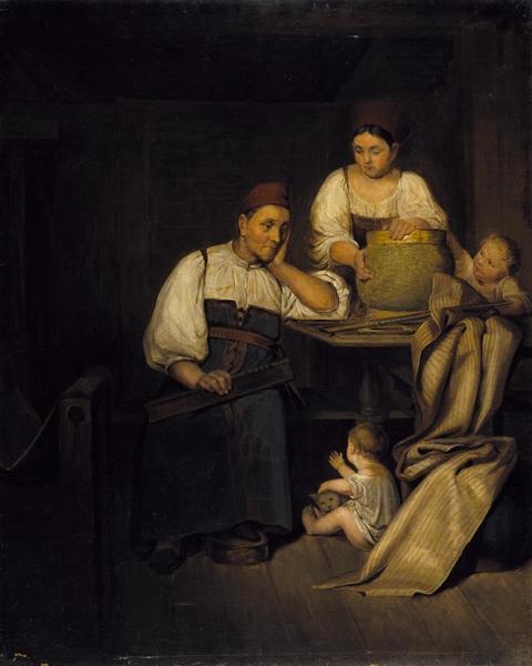 Неизвестный художник «Ткачихи сдетьми». Середина XIXвека. Холст, масло, 93,5x75см.